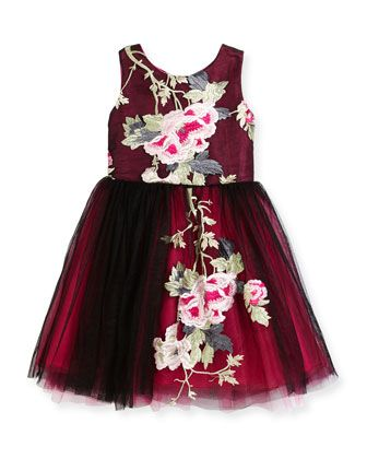 Sleeveless+Floral+Embroidered+Tulle+Dress,+Black+by+Zoe+at+Neiman+Marcus.
