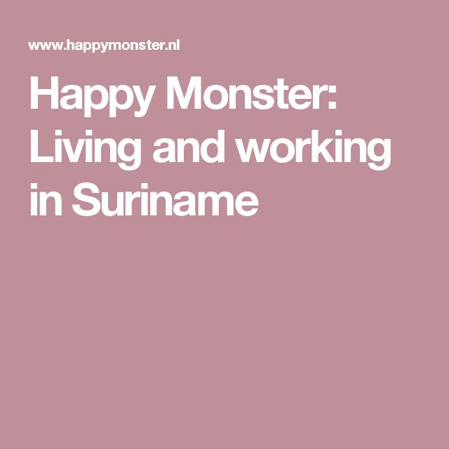 Happy Monster: Living and working in Suriname