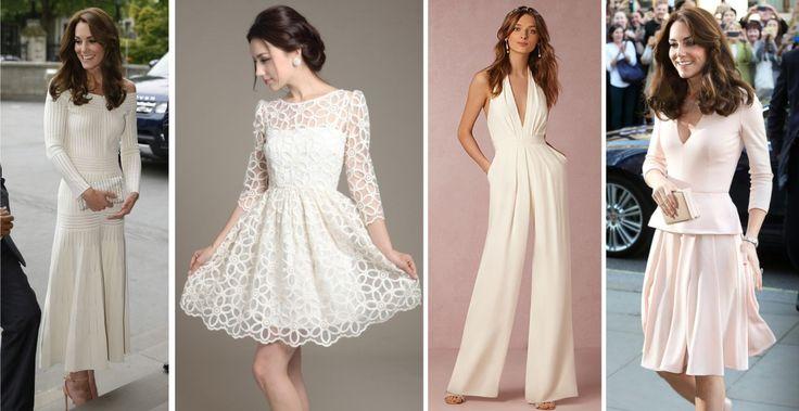 Confira os mais lindos modelos de vestidos de noiva para casamento civil! Inspire-se com a Duquesa Kate Middleton, macacões e ideias para todos os estilos.