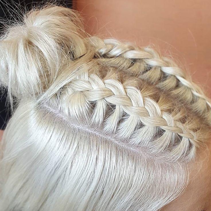 Braids  French braids bang braids insta:@daniellelodge_ blonde platinum blonde bun messy bun braids
