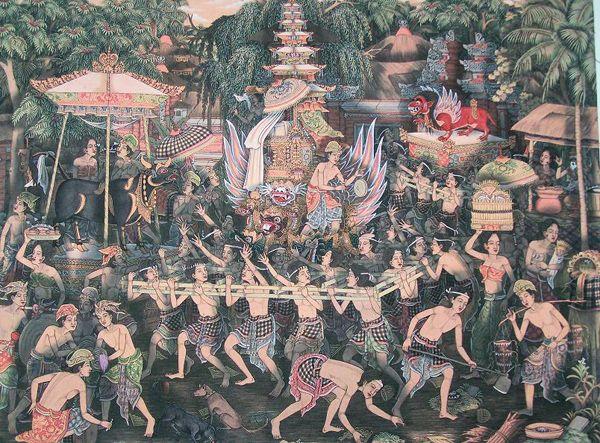 Bali's Ngaben ceremony illustration