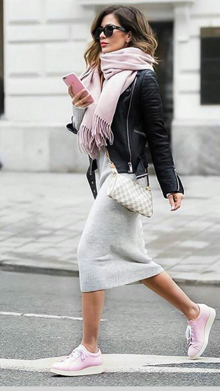 Like this look a lot. Grey dress, leather jacket, white sneakers and grey scarf – …sandra…