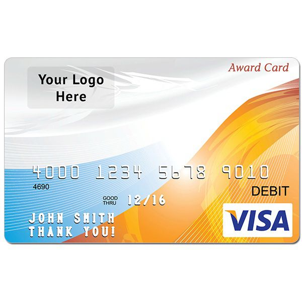 Prepaid Cards - Custom Branded Visa® or MasterCard® Reward Cards.  This promotional gift can be used anywhere Visa ® or MasterCard ® are accepted.  Great incentive to help acquire more customers or to reward employees.  Quick turnaround, very important promotional tool, especially for Holidays, Service Awards, Safety Awards, Health and Wellness campaigns and Customer Acquisition Programs