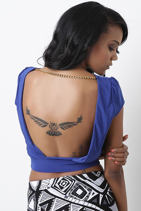 owl bird abstract modern middle back tattoo