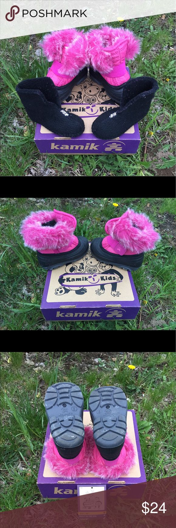 EUC Kamik toddler girls' winter boots These little beauties are amazing! Nearly perfect condition!!!! Size 6!!! Water-proof, with removable liners for washing (which I just washed today!), fuzzy hot pink fake fur tops (to keep your little one's ankles nice and warm). Used 3-4 times, as we had a very short mellow winter this season! Comes with box and care-instruction card. Make in the USA!!! MAKE ME AN OFFER!!  or bundle to save even more!  (The blue in the last couple of photos was my…