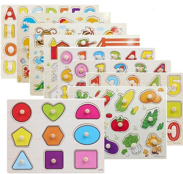 Kid Cognitive Grasp plate 3D Puzzle Number Letter Color Shape Transportation Cartoon Insect Vegetable Marine Animals Toy #Affiliate