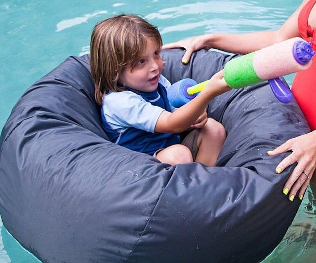 Take comfort to the extreme by plopping your tired bones down on the floating bean bag chair. The clever design allows your body to remain dry while your arms and legs dangle in the water to cool you off as you soak up those sunny rays.