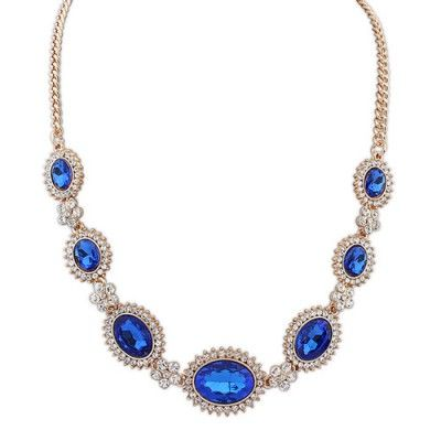 Waxing dark blue gemstone decorated simple design alloy #Korean #Necklaces  www.asujewelry.com