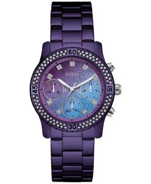 Guess Women's Purple Stainless Steel Bracelet Watch 37mm U0774L4  - Purple