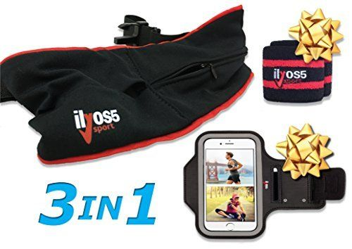 """Waist Running Belt Waist Pack Design Fanny Pack for Man and Women + iPhone 7 Armband + 2 Sweat Wristband by Ilyos5. 3 IN 1 - Sports set includes a new designed running belt to hold phone that fit large cell phones like iPhone 6 plus / 7 plus. sports Armband for Apple iPhone 6/6S (4.7""""), Samsung S6 Or Any Phone That Has A Screen Up To 5.2"""" and 2 sweat wristbands. Arriving in a quality box - Perfect gift for men and woman. KEEP YOUR HANDS FREE - You want to run or work out with your..."""