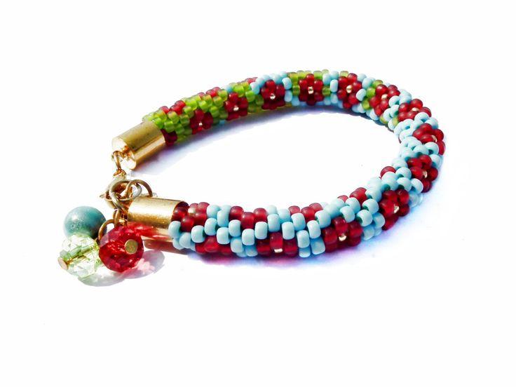 Beaded Bracelet Toho Seed Beads Bracelet Blue Green Bracelet Crochet Rope Beaded Gift For Her Birthstone  August Peridot Birthday Gift by MadeByJoLis on Etsy