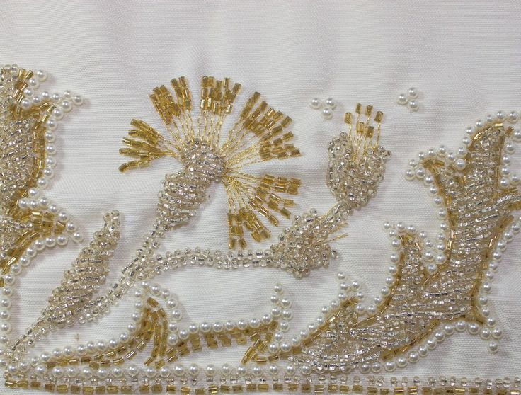 Silver and gold tambour beaded thistle design border