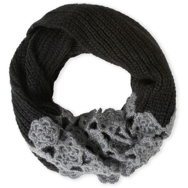 Betsey Johnson Winter Bloom Infinity Scarf (27 CAD) ❤ liked on Polyvore featuring accessories, scarves, black, infinity scarf, metallic shawl, betsey johnson, tube scarf and round scarves