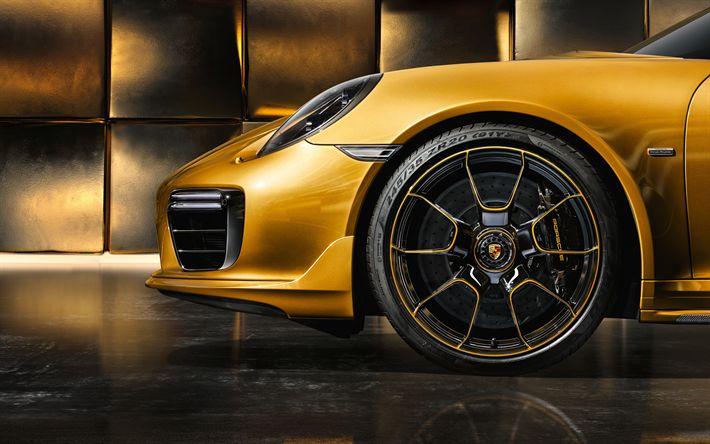 Download wallpapers Porsche 911 Turbo, 2017, gold 911, sports cars, wheels, Porsche Exclusive Series, Porsche