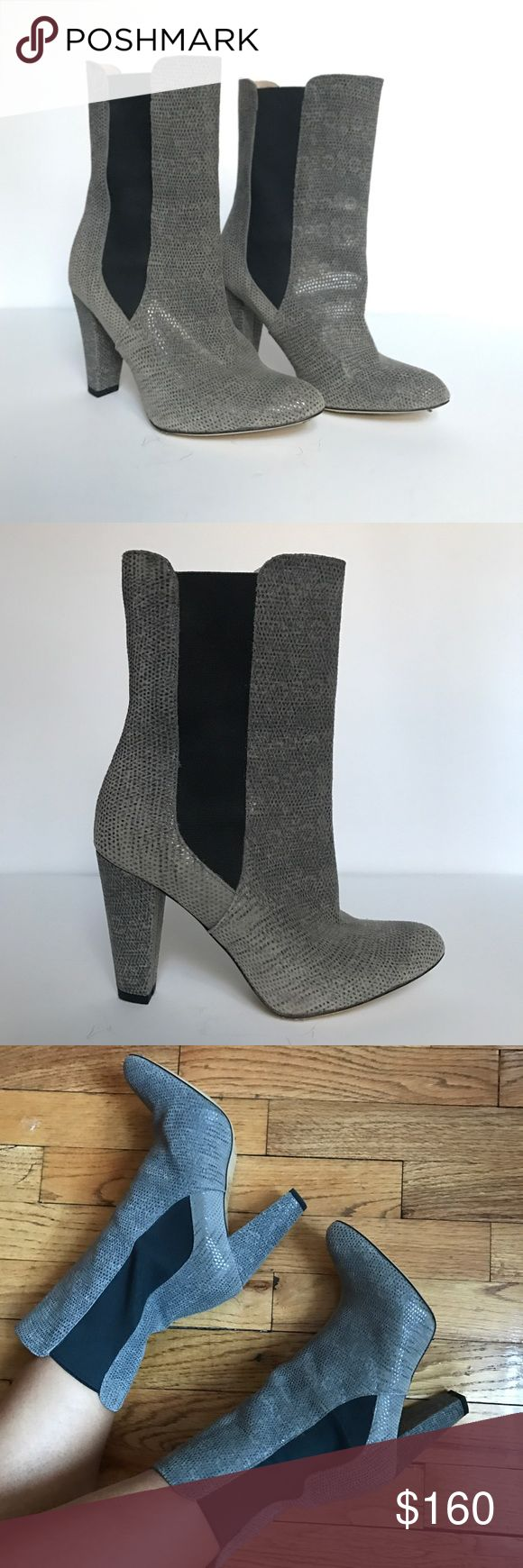 Like New REISS Boots Beautiful python inspired grey boots from REISS, black elastic on both sides for easy pull up. They are European 38 but RUN SMALL, best for someone size US 6/6.5 or narrow 7. Material is like a soft suede with python type of texture. Only worn once, like new except for soles. Heel is 3.5in. No box. Reiss Shoes Heeled Boots