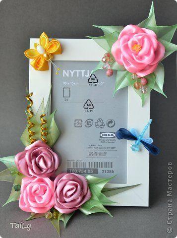 Декор предметов Украшение Цумами Канзаши Много розовых цветочков и корзинка Ленты фото 2