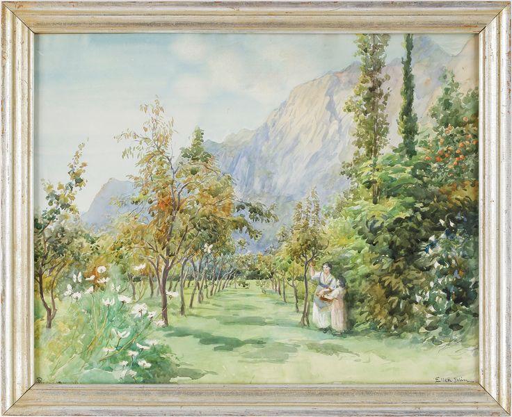 Ellen Jolin (1854-1939) Akvarell