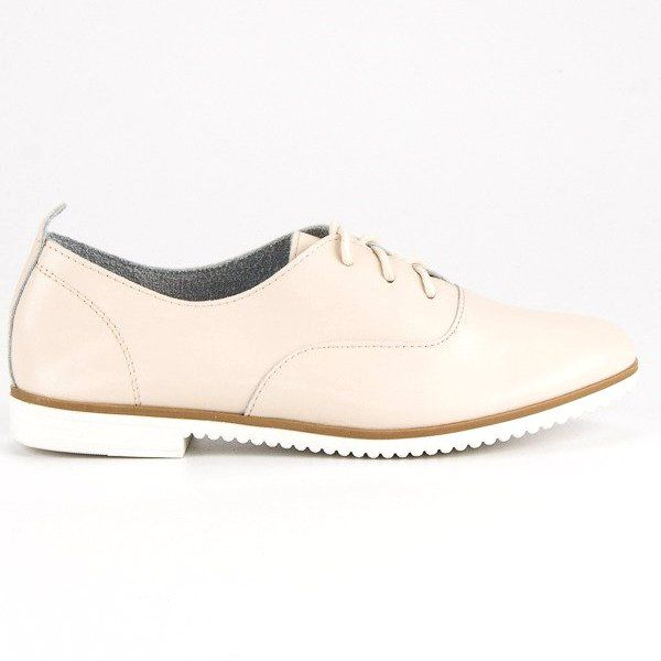 Jasnobezowe Skorzane Polbuty Mazaro Bezowy Womens Boat Shoes Leather Boat Shoes Shoes