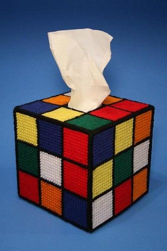 Rubiks cube tissue cover pattern by wonkydawn on Etsy. My hubs would love this...i might need to get the pattern!