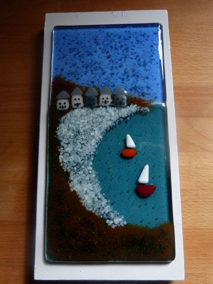 Fused glass seascape