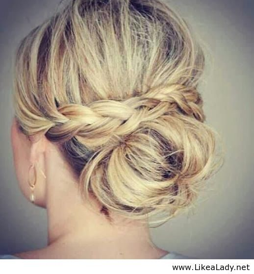 Seems simple. Maybe braid each side and tuck ends over a bun.