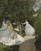 """Claude Monet - Femmes au jardin Vers 1866  Huile sur toile  H. 255 ; L. 205 cm  Musée d'Orsay. En atelier, le tableau est refusé par le jury du Salon de 1867 qui, outre l'absence de sujet ou de narration, déplore la touche apparente qu'il juge comme une marque de désinvolture et d'inachèvement. L'un des membres déclare: """"Trop de jeunes gens ne pensent qu'à poursuivre dans cette abominable direction. Il est grand temps de les protéger et de sauver l'art !"""" #Monet #ClaudeMonet #art"""