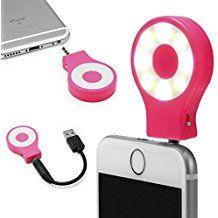 Urcover® universal LED Selfie Light Pink | tragbarer mini Strahler Flash-Light | Foto-Licht Lampe mit einstellbarer Helligkeit | AUX Anschluss 3,5 mm Klinke | Kamera Smartphone