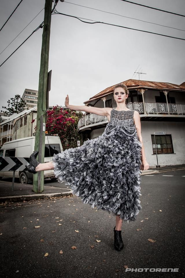 Plastic Fantastic Dress made completely out of plastic bags #hoskindesigns #inspiration #creative #Avant garde #fashion