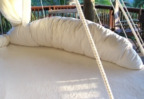 All white round hanging bed closeup of back rest pillows: Round Beds, Floating Bed, Hanging Beds, Chandler Bedroom, Hammock Bed, Outdoor, Bed Photo, Photo Galleries, Bed Floatingbed Com