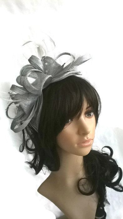Silver Grey metallic Feather Fascinator..stunning rosette fascinator on a headband
