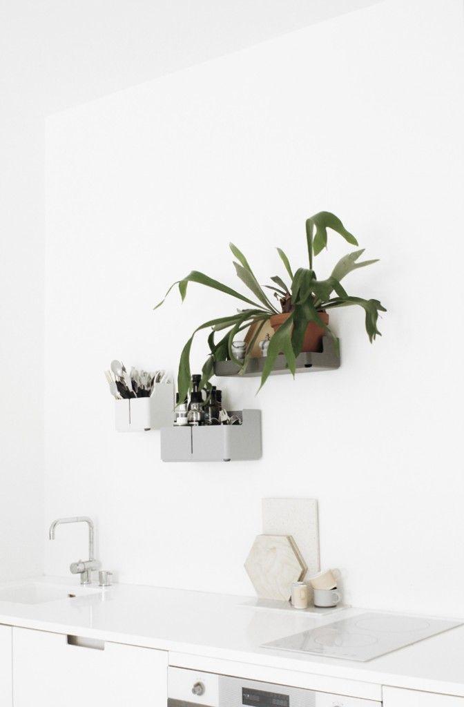 Iittala Aitio shelves on kitchen wall. by Varpunen