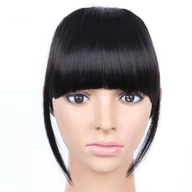 6 Inch Clip In Front Closure Bangs Fringe Straight Synthetic Hair Hairstyles With Bangs Front Hair Styles Fake Hair Extensions