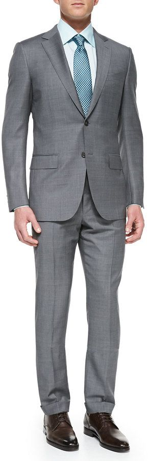 $1,647, Grey Suit: Ermenegildo Zegna Sharkskin Suit Jacket Tonal Herringbone Dress Shirt Woven Shell Neat Tie. Sold by Neiman Marcus. Click for more info: https://lookastic.com/men/shop_items/135640/redirect