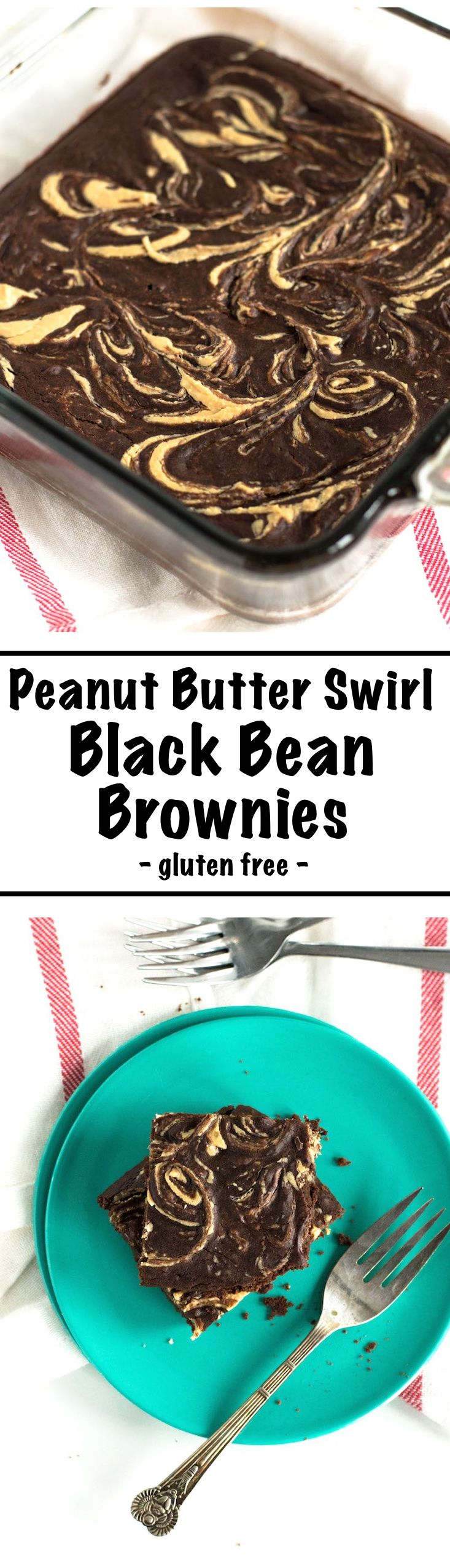 Peanut Butter Swirl Black Bean Brownies | This Black Bean Brownies recipe is easy to make and made completely gluten free with black beans instead of flours and are beautifully swirled with natural peanut butter. Click for the easy recipe! | nourishedtheb