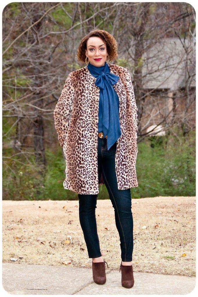 Faux Fur Leopard Print Coat, Vogue 9123
