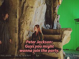"During the filming of the scene where Legolas is suppose to catch Tauriel talking to Kili there was a surprise improvisation by Orlando when the camera panned over to show him on the balcony. He wears a party hat and drinks champagne then swallows and yells ""Slut!"" to Eve (tauriel) the whole crew started laughing because they weren't expecting it."