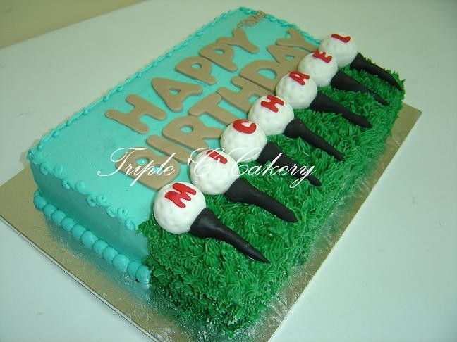 golf decorated cake | 9x13 Guiness cake iced with IMBC and decorated with fondant balls and ...