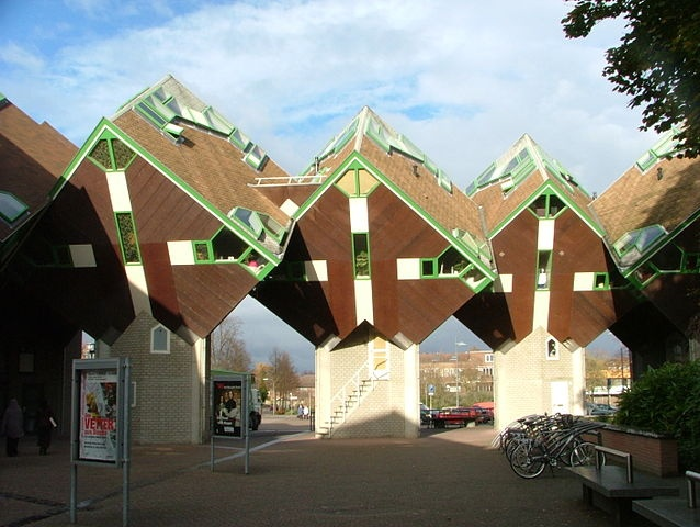 """""""Kubuswoningen Speelhuisplein - Helmond, Netherlands"""" -- [Cube Houses Playhouse Square are a set of innovative houses built in Helmond, Netherlands - designed by architect Piet Blom. In 1977 18 houses were constructed in Helmond. The cube houses in Helmond surrounded a theater, Theater 't Speelhuis, which was destroyed by a large fire on December 29 2011.]~[Photograph by Geert C. Smulders - July 1 2008]'h4d'12"""