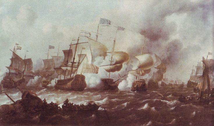 11-21.08.1673.Battle of Texel.Third Anglo-Dutch War.Michiel de Ruyter.De Gouden Leeuw (ship,1666) De Witte Oliphant (ship,1666) Ludolf Bakhuizen  (1630-1708)Gemäldegalerie Alte Meister Dresden