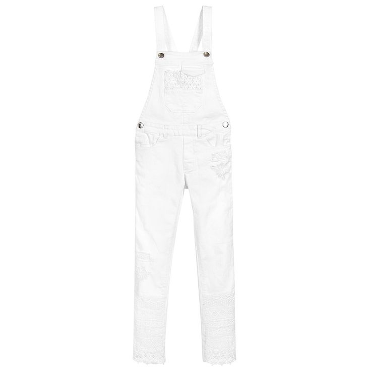 Mayoral Girls White Dungarees With Lace  at Childrensalon.com