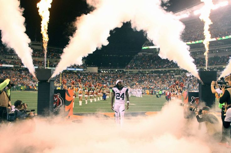 Adam Jones #24 of the Cincinnati Bengals is introduced to the crowd before the start of the game against the Miami Dolphins at Paul Brown Stadium on Sept. 29, 2016 in Cincinnati.