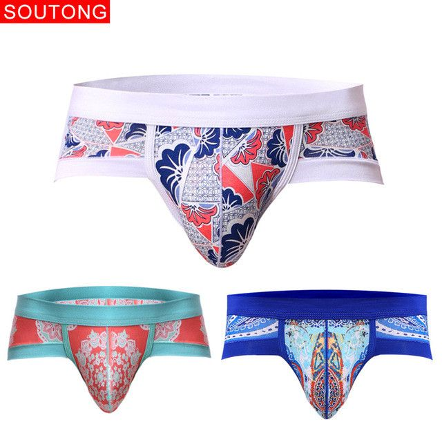Soutong 3Pcs/lot Men Briefs Men Underwear Briefs Printed Soft Underpants Modal Sexy Underwear Men Briefs calzoncillos hombre