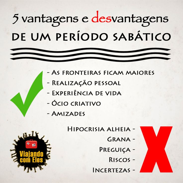 5 vantagens e desvantagens do sabático.