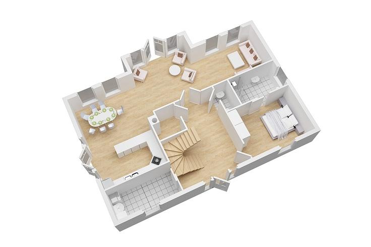 Planløsning 1.etg. :Vitoria, Blå bolig. Ville gjort om noe på rominndelinga.
