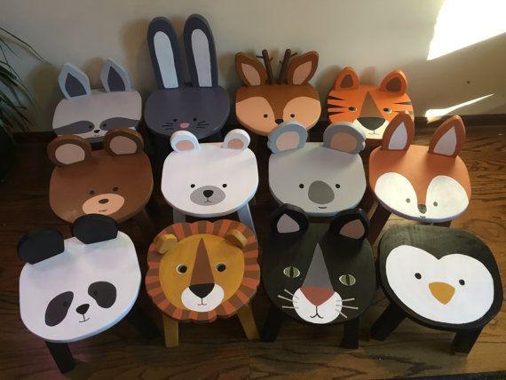 Woodland Animal Tabouret Orange Fox Peint À La Main En Bois Enfant En Bas Âge # Peint À La Main # …  – Kind