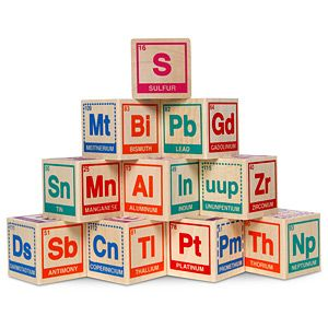Periodic Table Building Blocks: 20 solid wooden blocks. $39.99 #Wooden_Blocks #Toys #Periodic_Table
