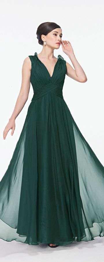 Forest green prom dresses see through back flowing chiffon formal dresses