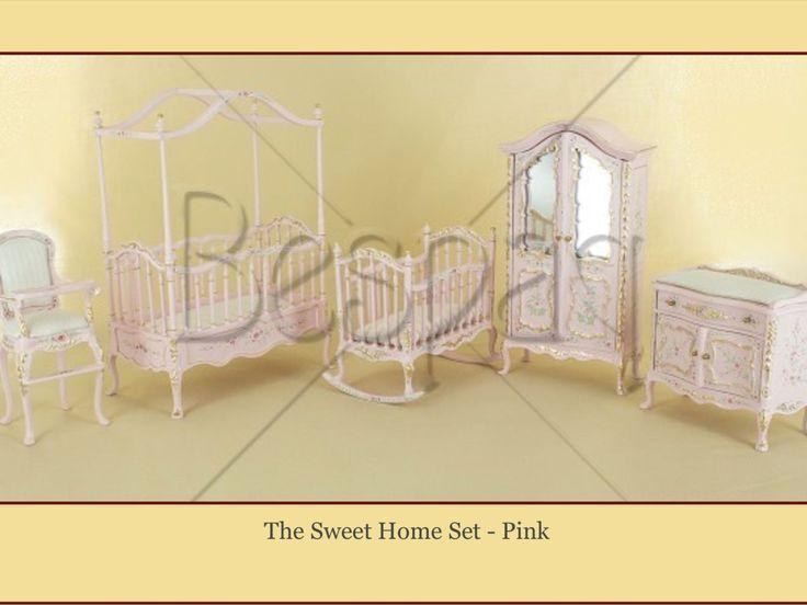 "DOLLHOUSE MINIATURE ""Sweet Home Nursery Set"" Pink - BESPAQ 5 pcs Crib Armorie + | eBay"