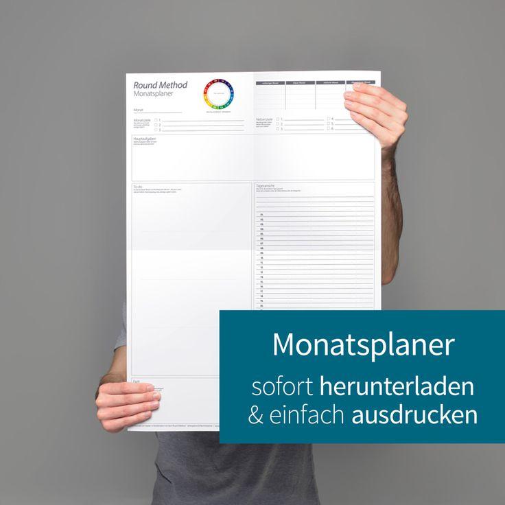 Monatsplaner ausdruckbar (digital - PDF), Monatsplaner 2017, Monatsplaner zum Ausdrucken, printable, (A3, A2), Monatskalender, Kalender 2017 von roundmethod auf Etsy