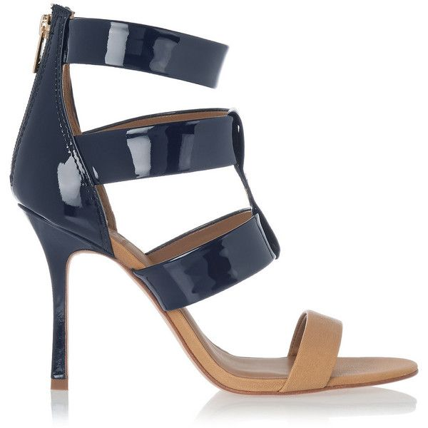 Tory Burch Danielle patent and textured-leather sandals (€205) ❤ liked on Polyvore featuring shoes, sandals, heels, navy, patent leather sandals, navy blue patent leather shoes, zipper sandals, high heel shoes and navy high heel sandals
